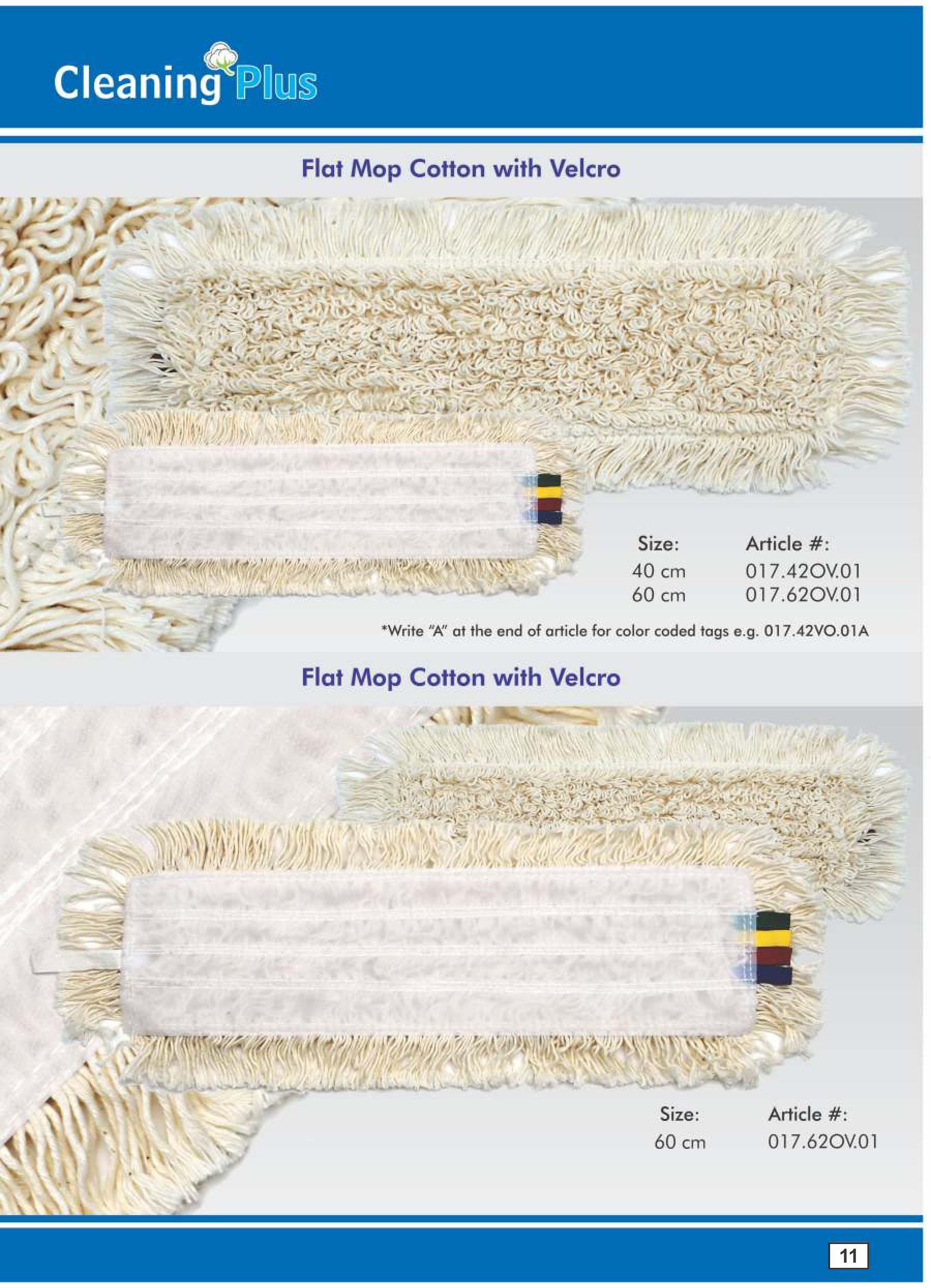 Flat mops cotton with Velcro